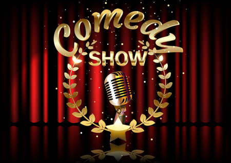 Vintage metal microphone on stage with red curtain backdrop. mic on empty theatre stage, vector art image illustration. stand up comedian night show.