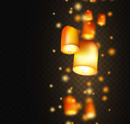 Lanterns isolated on transparent background. Happy Diwali festival decoration elements. Night sky floating indian lamps. Symbol victory of light.