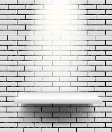 Vector empty white shelf isolated on gray brick wall background