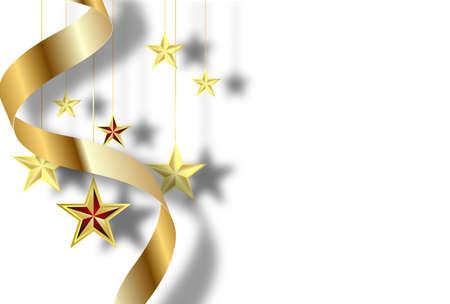 Gold stars and ribbon on a white background. Postcard. Ilustração