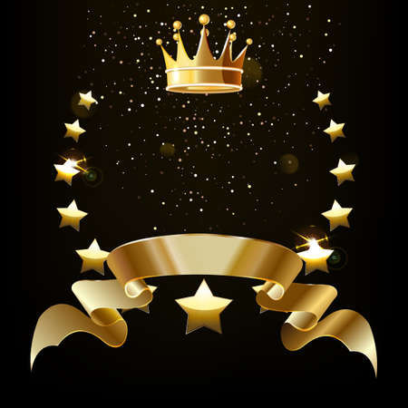 Realistic gold star emblem with text space and Golden crown. Award emblem, a traditional symbol of victory on a black background.