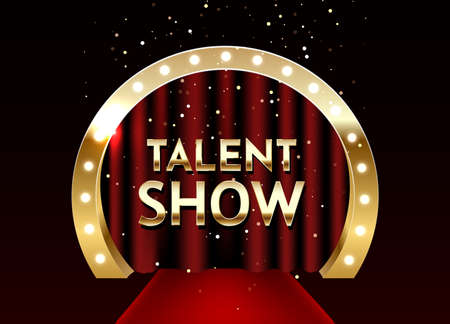 Talent show vector poster template. Empty theatrical stage with Talent show signage with lights on red curtain and seats for spectators.
