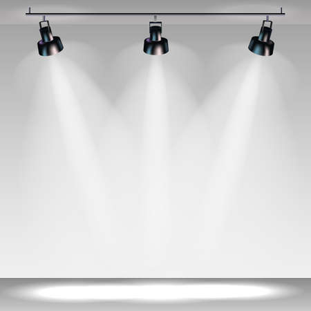 stage with spotlights, professional light vector