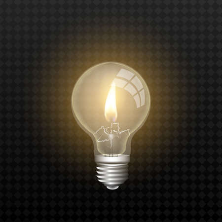 realistic lamp with a candle inside on an isolated background. vector Ilustracja
