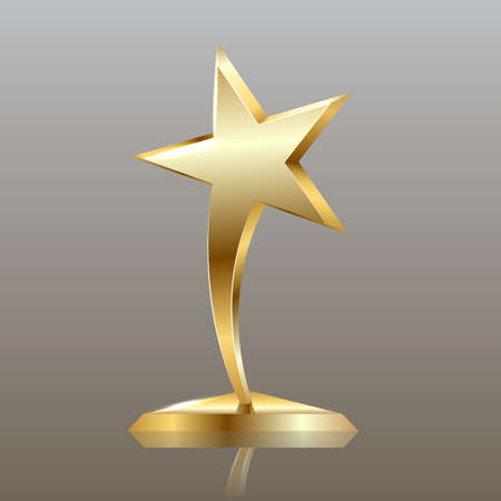 gold star on podium, entertainment and show business vector background, layered and editable
