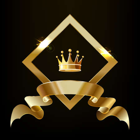 Crown in a gold diamond with a ribbon. Vector 向量圖像