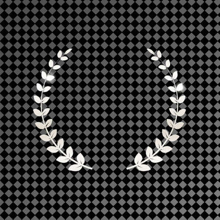 Silver shiny laurel wreath isolated on transparent background. Vector design element. 矢量图像