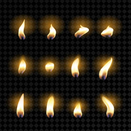 Set of fire flames. Realistic candle flame isolated on a transparent background. To create an animation. Ilustração