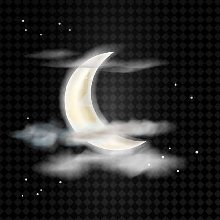 Realistic detailed moon with clouds isolated on transparent background. Vector illustration