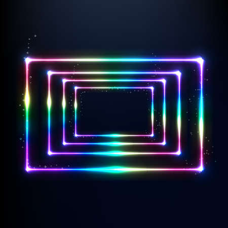 Vector neon frame. Shining rectangle banner. Vector illustration,