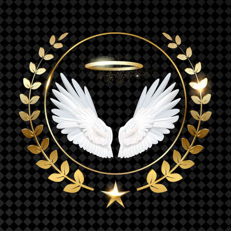winged laurel wreath logo gold vector Vettoriali
