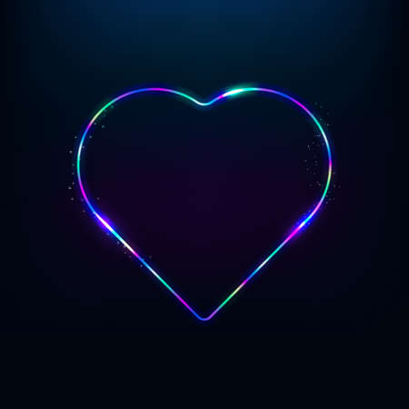 Electric neon sign. Retro neon heart sign on transparent background. Ready for your design, greeting card, banner. Vector illustration.