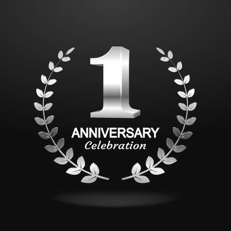 1st anniversary  with blue ribbon and laurel wreath, vector template for birthday celebration. Vettoriali