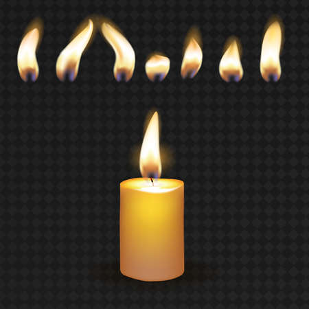 Realistic 3d Detailed Burning Candle and Flame Set on a Transparent Background. Vector illustration of Wax Candlelight