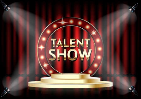 Talent show vector poster template. Empty theatrical stage with Talent show signage with lights on red curtain. Vettoriali