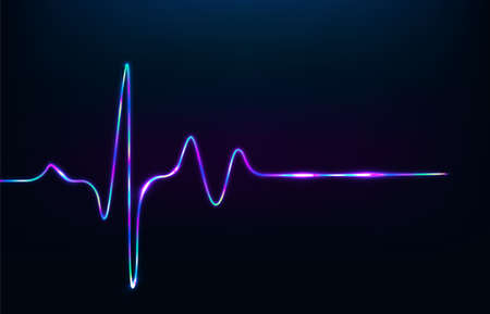 Neon heartbeat on black isolated background. Vector
