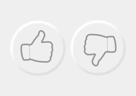 Vector editable neomorphic interface. Buttons like and dislike, round shapes for websites and social media. Isolated on white background