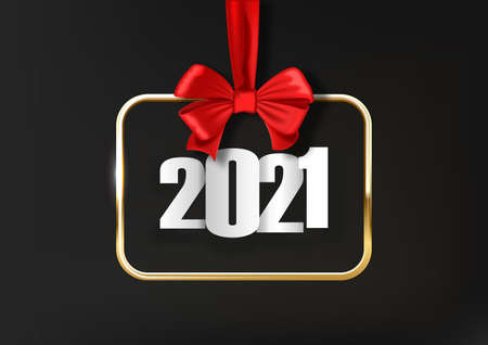 Happy New Year 2021. Hanging realistic gold frame on red ribbon with bow. White numbers for 2021. Holiday gift card