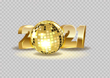 Happy New Year 2021. Holiday vector illustration of gold metal numbers 2021. New year and Christmas posters on a transparent background.