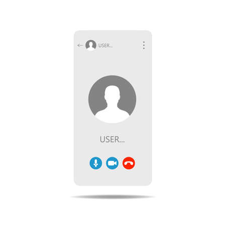 Call screen template. Mobile template, mockup. UI,UX,Kit interface. Call screen smartphone Vector illustration Vettoriali