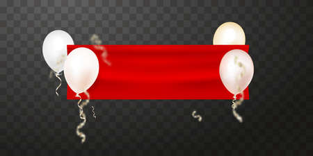 Empty banner with red fabric and flying balloons. Decoration element for design. Vector.