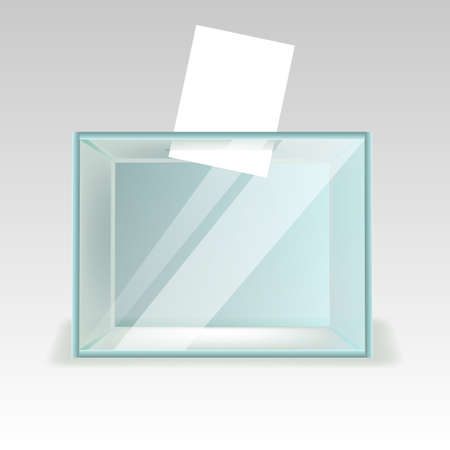 Glass ballot box, a box with transparent walls and opening. Realestic vector illustration Vettoriali