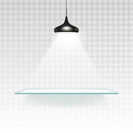 Spotlight shelf on wall background vector design. Light gallery spot empty room advertising shelf lamp. Vector