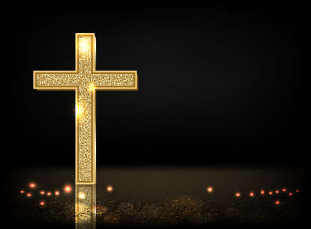 Gold prayer cross realistic vector illustration. Precious metal jewel on black background. Christian faith, catholic religion symbol