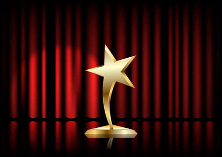 Star award on trophy realistic 3D illustration. Winner prize on red curtain backdrop. Achievement reward. Film festival Vettoriali
