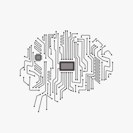 Digital human brain with computer circuit board. Electronic human brain technology illustration. Artificial intelligence. Vettoriali
