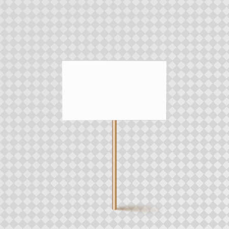 Empty banner layout on a wooden stick.