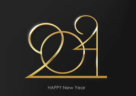 Luxury 2021 Happy New Year elegant design - vector illustration of golden 2021 logo numbers on black background - perfect typography Vettoriali