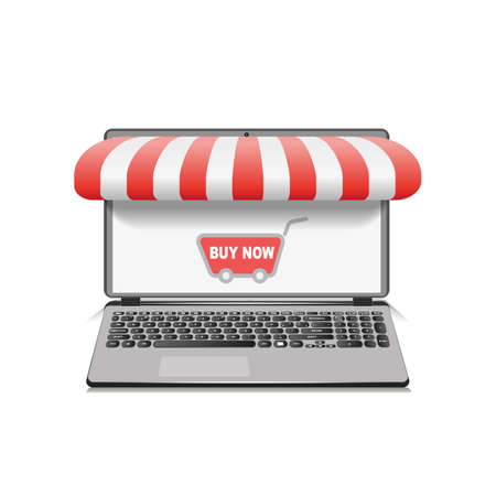 Silver open laptop with and screen buy. Concept online shopping. Vector