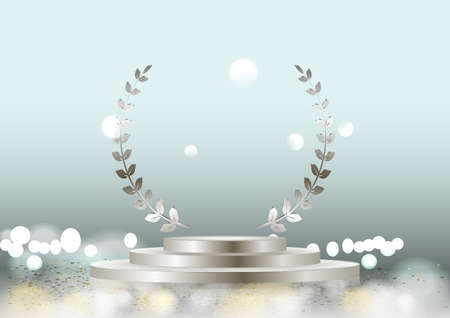 Vector silver laurel wreath frame award and stage podium isolated on dark background. Victory, honor achievement, quality product presentation, anniversary party, creative or professional triumph.