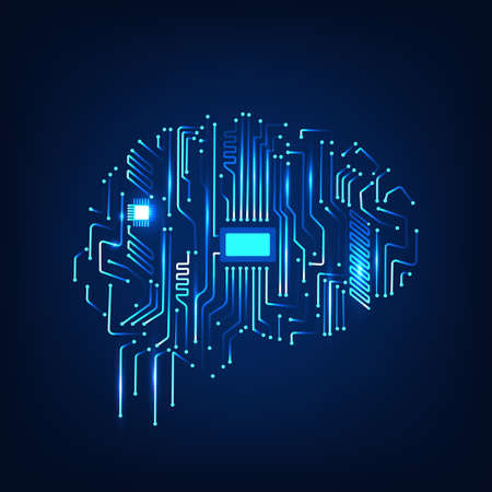 Digital human brain with computer circuit board. Electronic human brain technology illustration. Artificial intelligence. 矢量图像