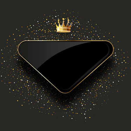 black glass label with golden crown isolated on black background. Luxury template design. Vector premium icon design.