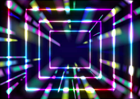 Vector illustration of abstract background with blurred magic neon blue light rays 矢量图像