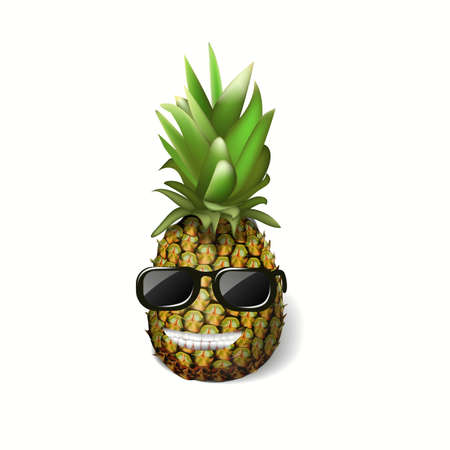 pineapple with glasses tropical vector illustration