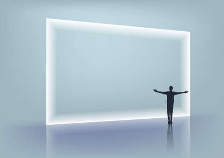 The man spread his arms in front of the white light frame. Vector.