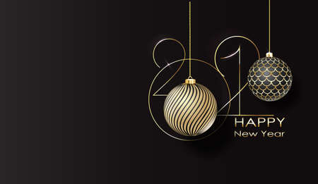 2021 Happy new year typography poster. Happy New Year Banner with 2021 Numbers. 矢量图像