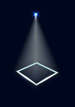 Dark background with a spotlight and a frame of light. Vector.