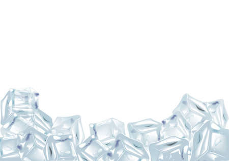 Ice cubes, realistic, 3d vector illustration. Blue Ice, isolated, refresh white background
