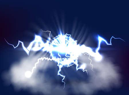 Ball lightning. Electric vector lightning flash explosion, electrical energy power sphere vector