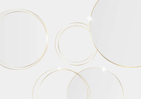 Abstract 3D circle papercut layer white background with gold line effect vector