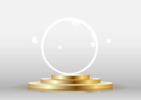 Gold Metal podium with circle light effect vector