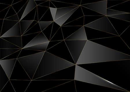 Dark black and Gold mosaic background. Modern dark abstract vector texture 矢量图像