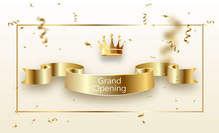 Grand opening banner with curly gold ribbon golden frame.