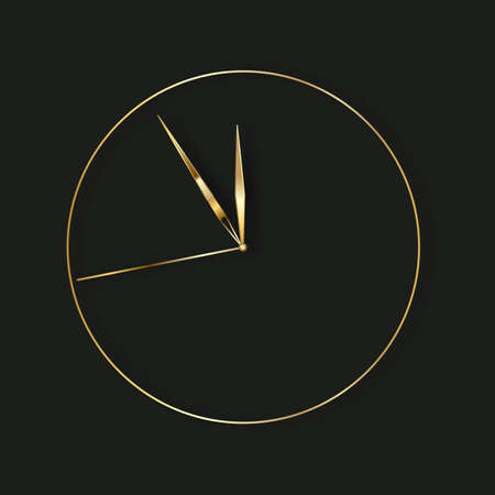 gold clock, five minutes to midnight. 向量圖像