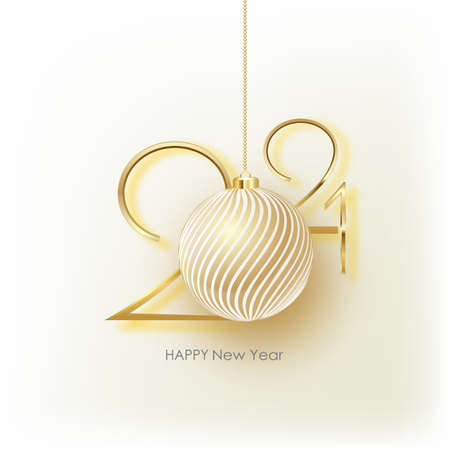 2021 Happy New Year. Holiday vector illustration. Gold Numbers Design of greeting card 矢量图像