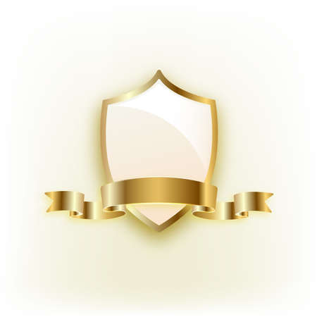Gold shield with ribbon on white background. Ilustrace